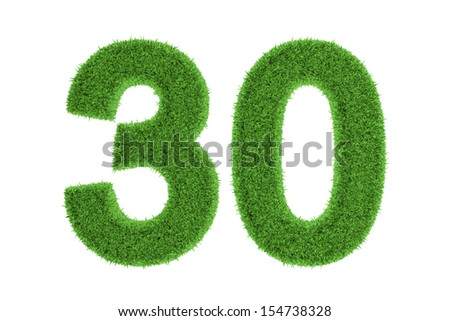 Number 30 with a fresh green grass texture and a three dimensional effect conceptual of an eco-friendly font and conserving nature, isolated on white