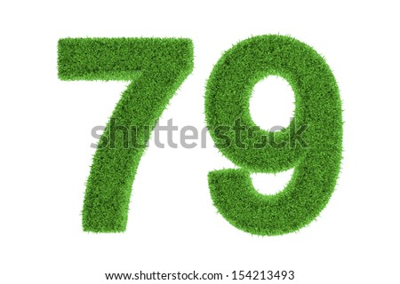 Number 79 with a green grass texture and a three dimensional effect conceptual of an eco-friendly font and conserving nature, isolated on white