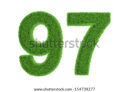 Number 97 with a green grass texture and a three dimensional effect conceptual of an eco-friendly font and conserving nature, isolated on white