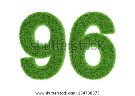 Number 96 with a green grass texture and a three dimensional effect conceptual of an eco-friendly font and conserving nature, isolated on white