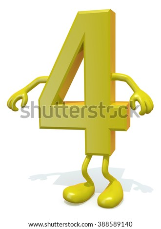 number 4 with arms and legs posing, isolated on white 3d illustration - stock photo