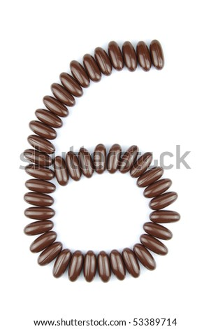 number 6 with chocolate candies (isolated on white background)