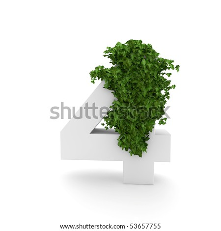 number 4 with ivy isolated on white