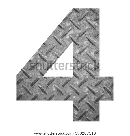 Number 4 with metal photo background isolated on white background - stock photo