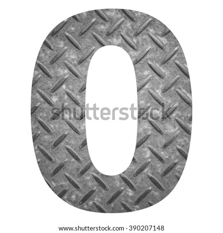 Number 0 with metal photo background isolated on white background - stock photo