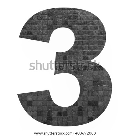 Number 3 with mosaic background photo isolated on white background