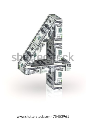 Number 4 wrapped 100 dollar banknote. - stock photo