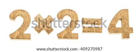 Number 2X2=4 brown wood isolated on white background. multiplication