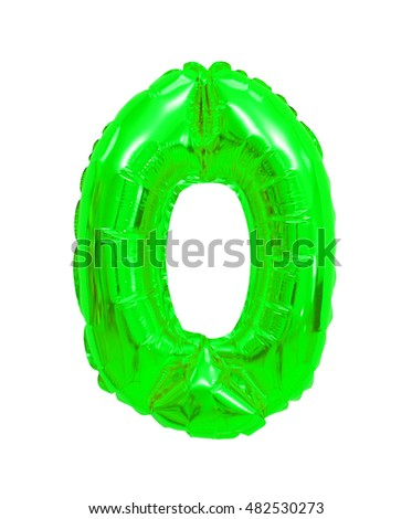 number 0 (zero) from balloons green. one digit the alphabet