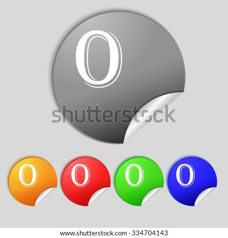 number zero icon sign. Set of coloured buttons. illustration