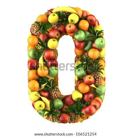 Number zero made from 3d fruits. Isolated on a white. - stock photo