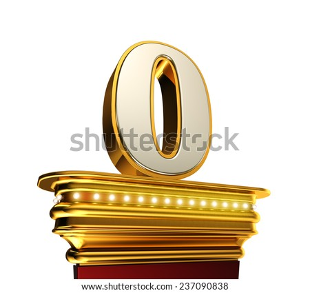 Number Zero on a golden platform with brilliant lights over white background  - stock photo