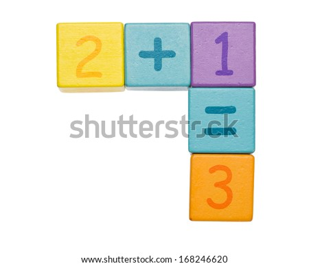 Numbered cubes isolated on white