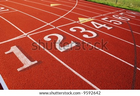 Numbered lanes - stock photo