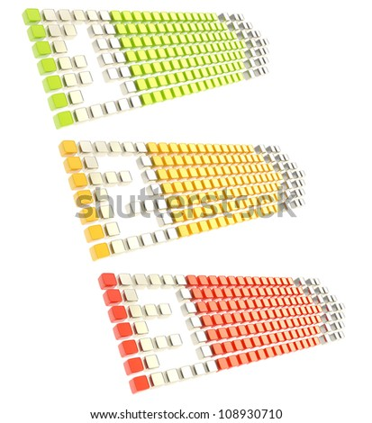 Numbered one, two, three copyspace arrow banner tags made of glossy green, yellow, red cubes isolated on white