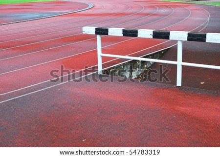 Numbered running track at the stadium. For sports and exercise, dieting and slimming, and healthy lifestyle concepts. - stock photo