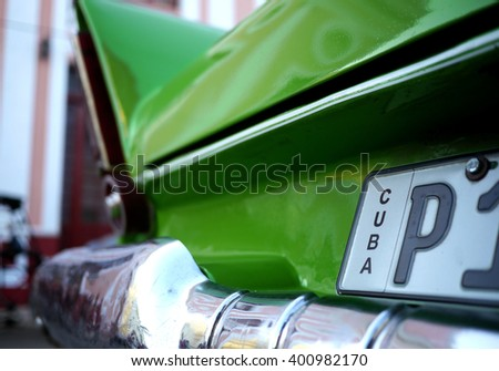numberplate on an old cuban car - stock photo