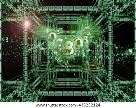 Numbers Are Forever series. Arrangement of 3D fractal and digits on the subject of science, technology and math - stock photo