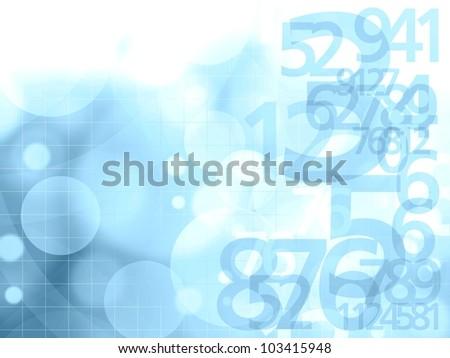 numbers blue background illustration - stock photo