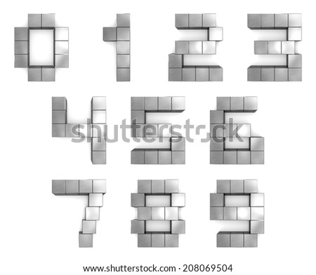 numbers 3d cubic metal - stock photo