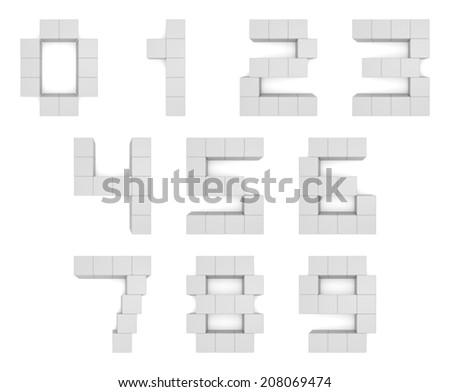 numbers 3d cubic white - stock photo