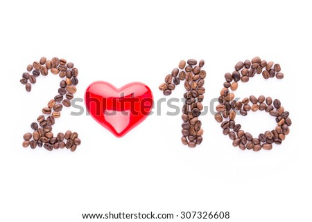 Numbers for New Year 2016 made from coffee beans and heart, isolated on white - stock photo