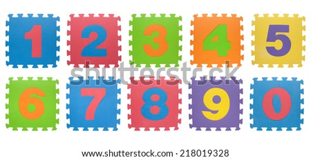numbers from alphabet puzzle isolated on white background with clipping path - stock photo