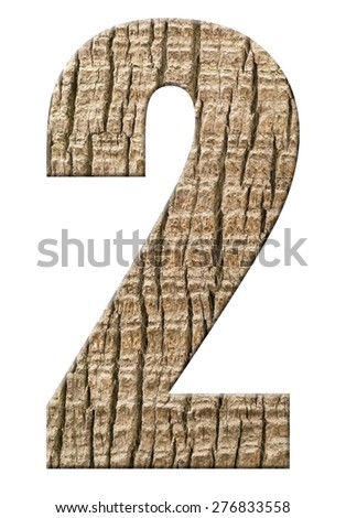 Numbers from palm bark isolated on white background, number - 2. - stock photo