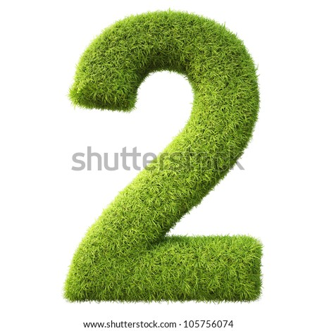 numbers from the green grass. isolated on white.