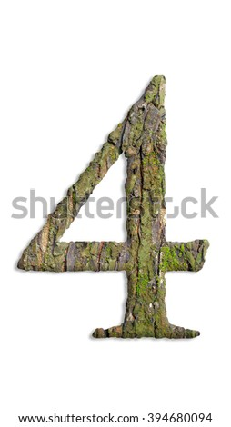 Numbers from the moss. isolated on white background.