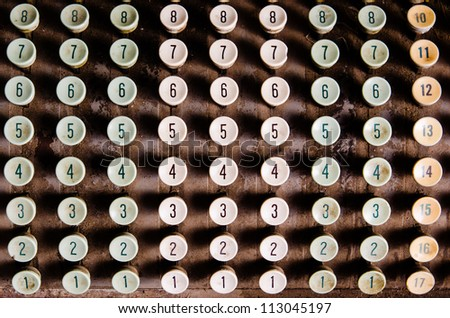 Numbers, grunge typewriter keys