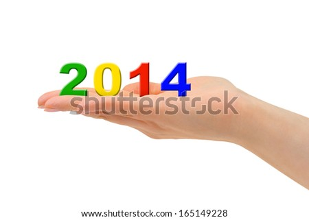 Numbers 2014 in hand isolated on white background - stock photo