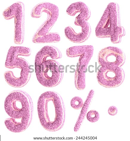 Numbers in pastille candy style