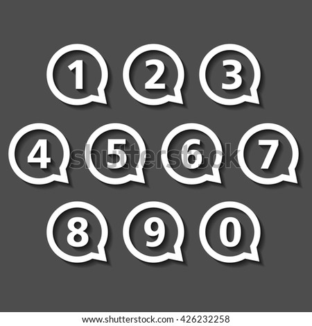 Numbers in round speech bubbles, flat design