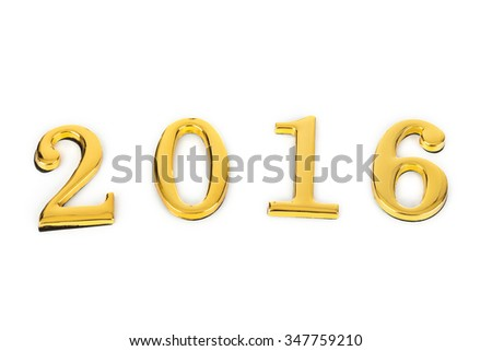 Numbers 2016 isolated on white background - stock photo