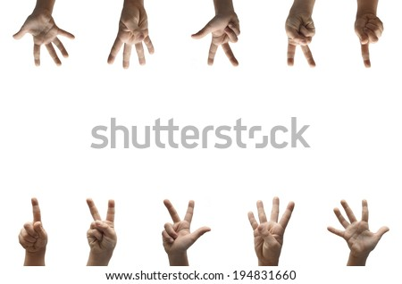 Numbers kid hand spelling american sign language ASL background - stock photo