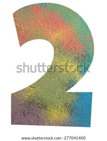 Numbers made from powder of colored chalks isolated on white background, number - 2. - stock photo