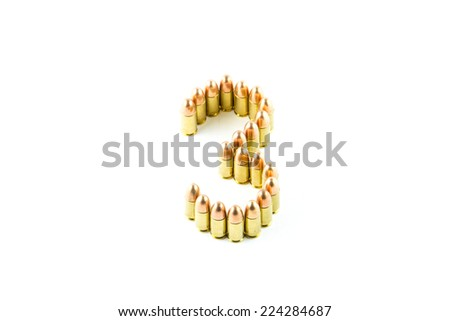 Numbers made of cartridges isolated on white background
