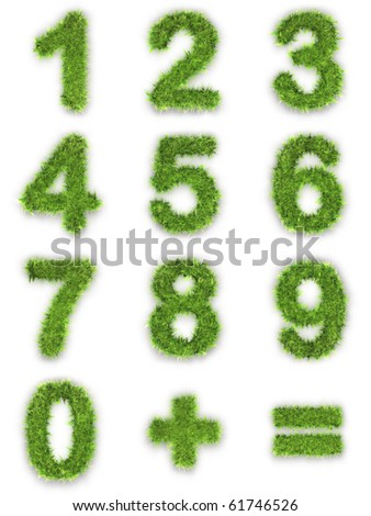 Numbers made of green grass isolated on white - stock photo