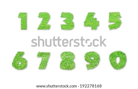 Numbers made of green grass isolated on white background - stock photo