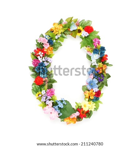 Numbers made of leaves and flowers - stock photo