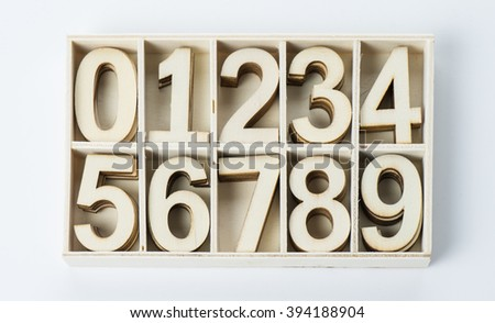 numbers numerals from wood - stock photo