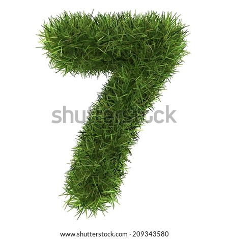 numbers of green grass concept. isolated on white.  - stock photo