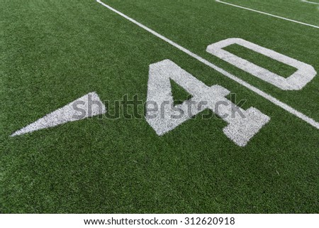 Numbers on a football field. 40. - stock photo