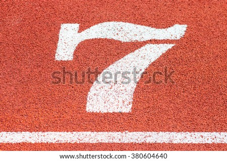 Numbers on running track, Athletics Track Lane Number seven