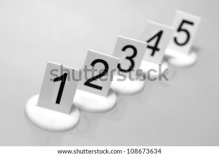 Numbers on supports on gray background.