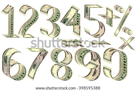 Numbers, percent and mathematical signs from dollars. Made of five dollar banknotes. Isolated on white. 3D rendering - stock photo