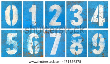 Numbers series painted on a grunge blue wall