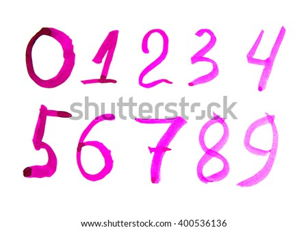 Numbers Set In Hand Drawn Calligraphy Style 0 9 Written