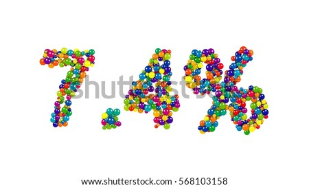 Numbers seven point four percent made of little bright colored balls isolated on white background